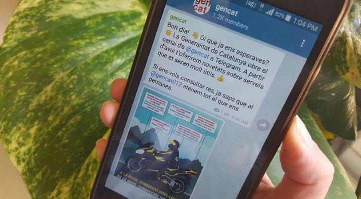 Nou canal de Telegram de la Generalitat de Catalunya