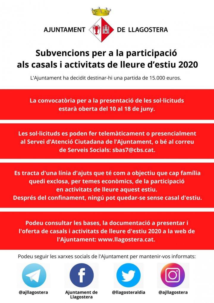 Subvencions per a la participació als casals i activitats de lleure d'estiu 2020