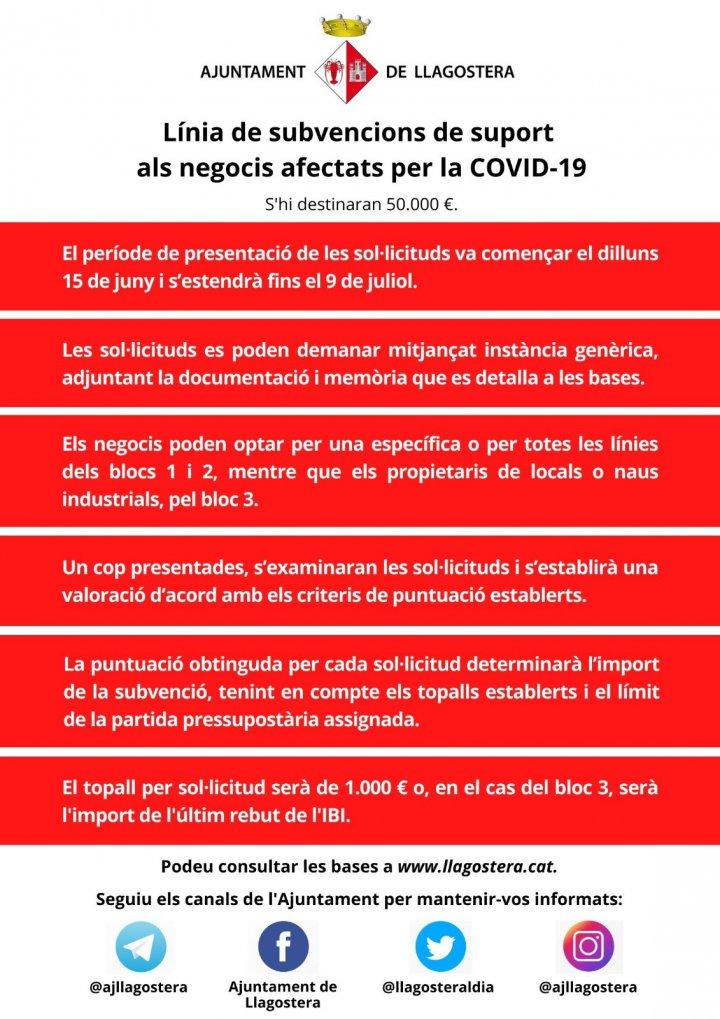Línia de subvencions de suport als negocis afectats per la COVID-19