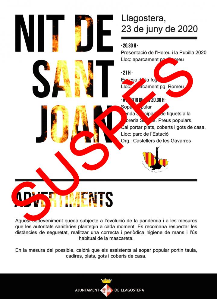 Suspesa la celebració de la nit de Sant Joan a Llagostera