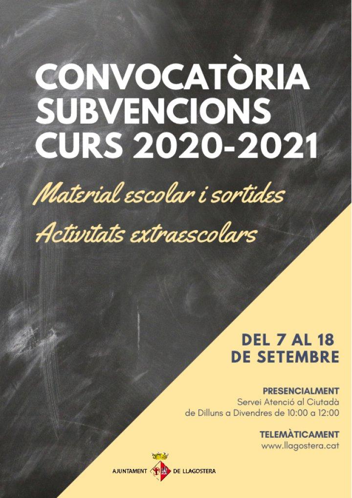 Convocatòria de subvencions pel curs 2020/21
