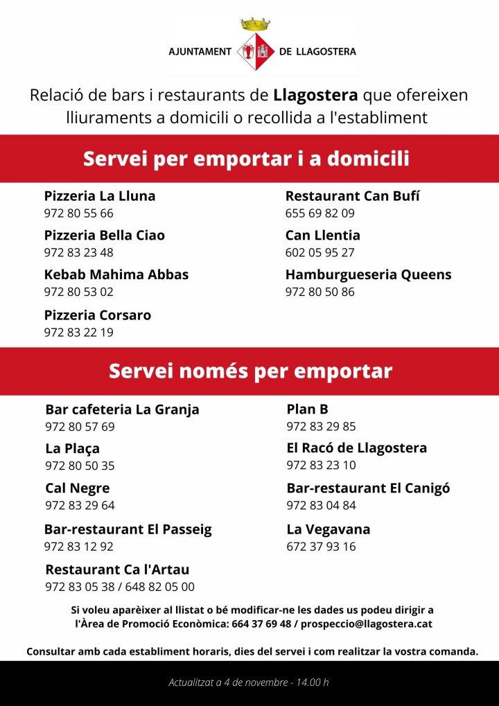 Bars i restaurants que ofereixen servei a domicili i/o per emportar