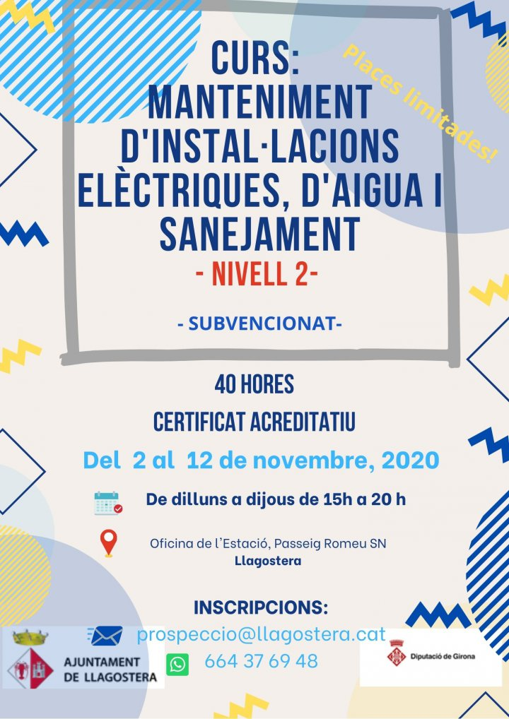 Curs de Manteniment d'instal·lacions elèctriques, d'aigua i sanejament Nivell 2