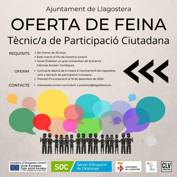 Oferta de feina per a la selecció d'una plaça de Tècnic/a de Participació Ciutadana