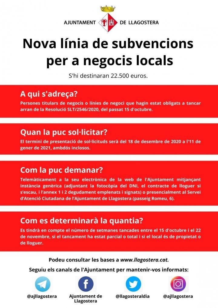 Nova línia de subvencions per negocis locals dotada en 22.500 euros