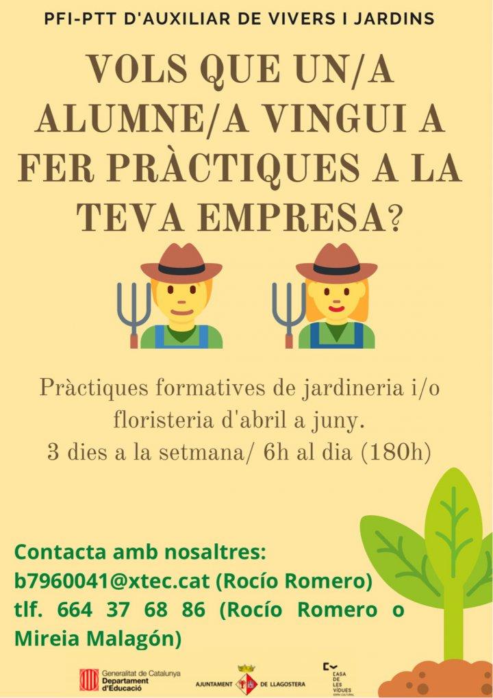 Pràctiques formatives a empreses pels alumnes del PTT de Llagostera