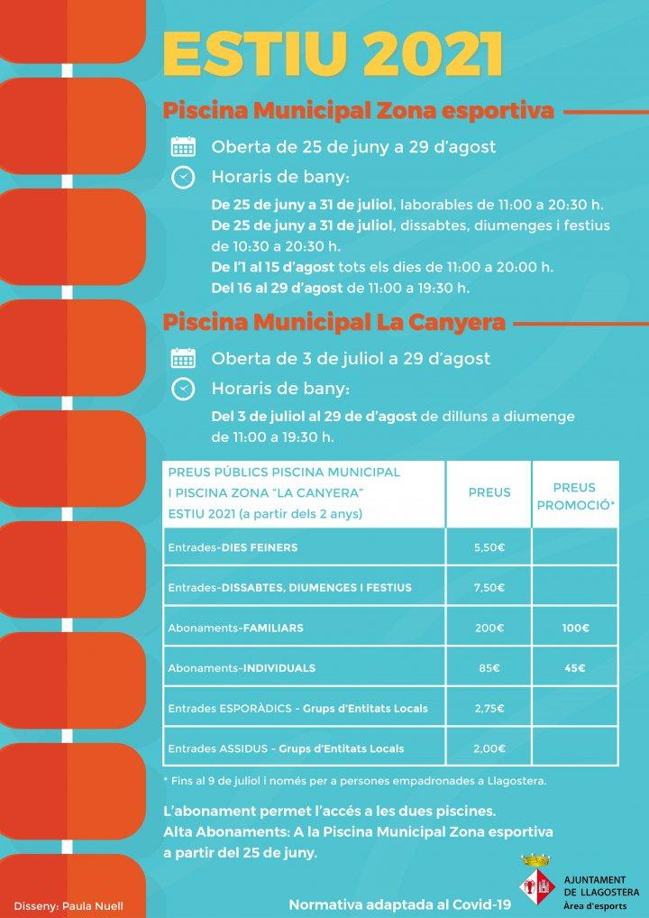 Horaris, dates d'obertura i preus de les piscines municipals
