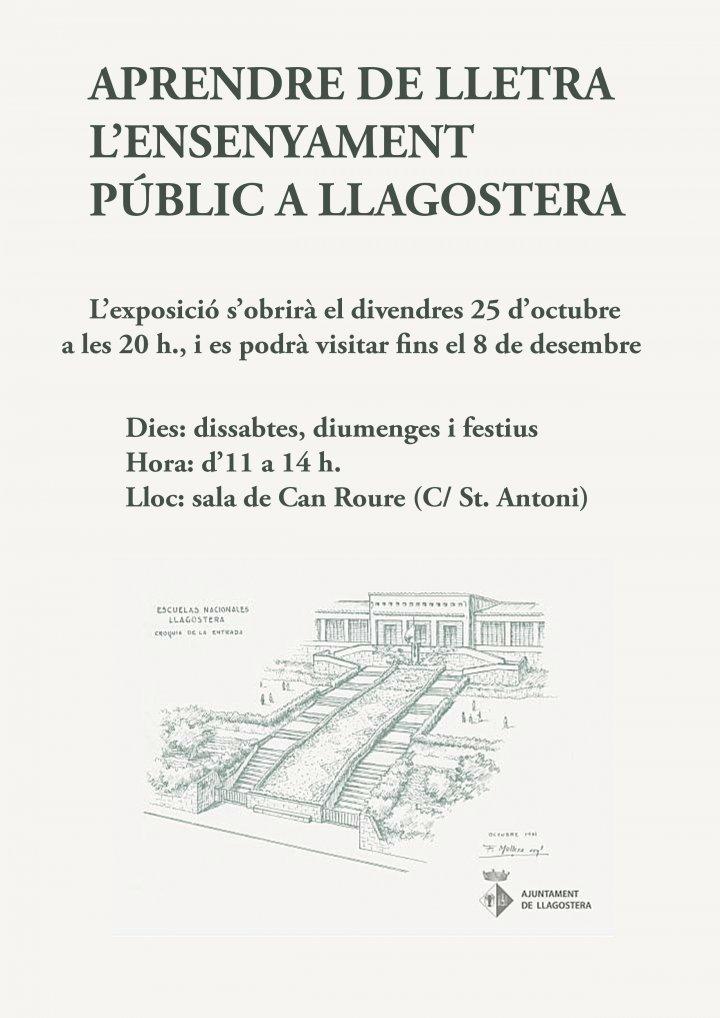 Exposició dedicada a l'Ensenyament públic a Llagostera