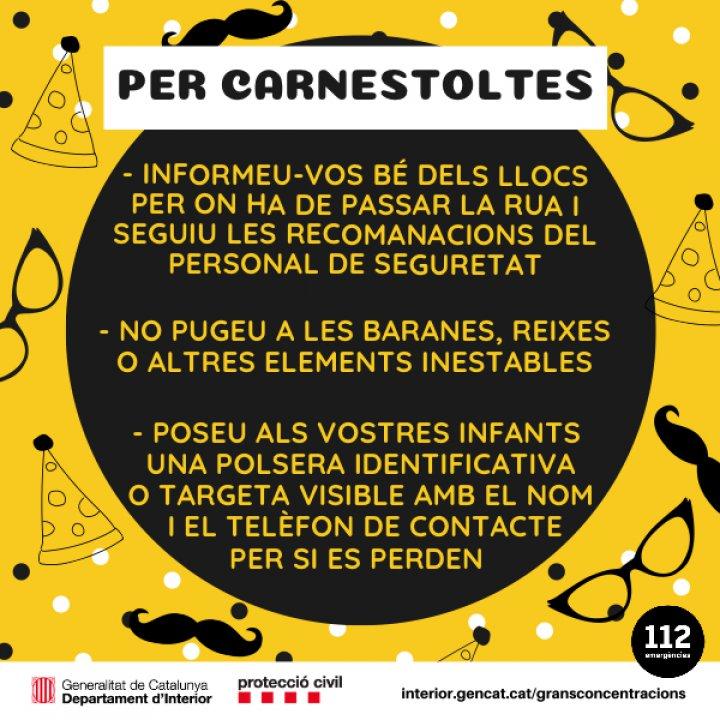 Consells de seguretat per a les Rues de Carnaval