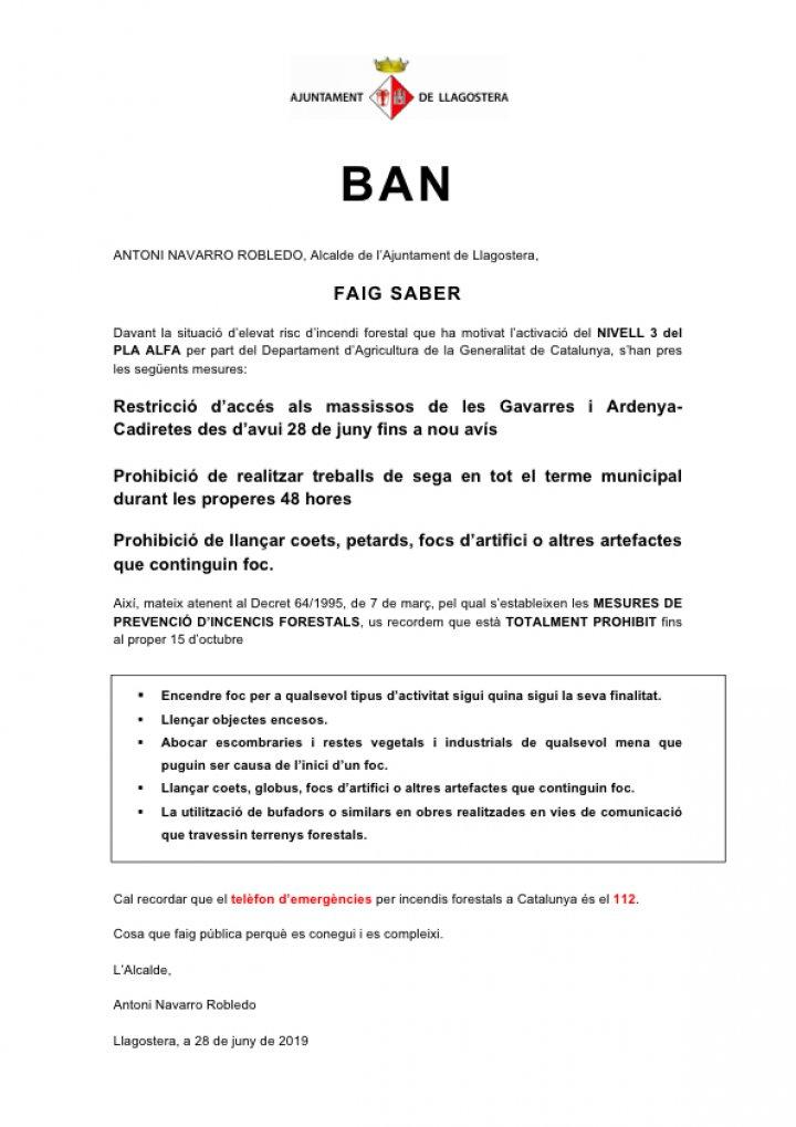 BAN: Mesures davant l'elevat risc d'incendi forestal