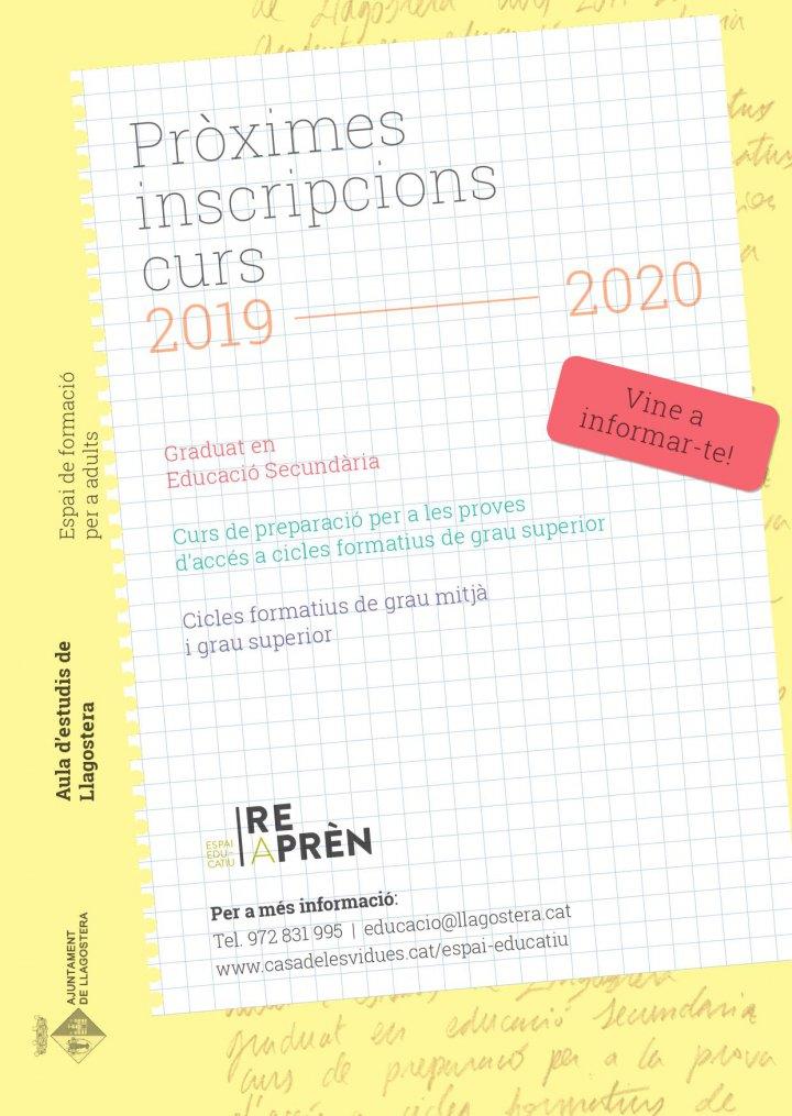 Inscripcions de GES i del Curs de preparació per a la prova d'accés a cicles formatius de grau superior a l'aula d'adults Reaprèn