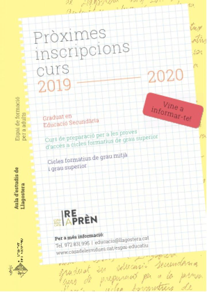 Període d'inscripcions del Curs de preparació de la prova d'accés a cicles formatius de grau superior a l'aula d'adults Reaprèn
