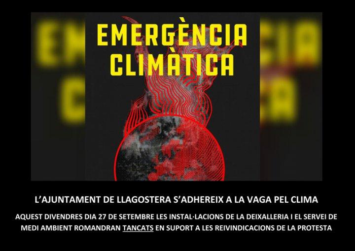 L'Ajuntament de Llagostera s'adhereix a la vaga pel clima