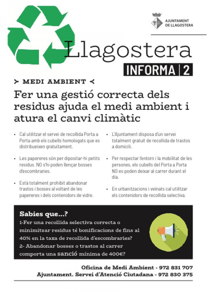 Fer una gestió correcta dels  residus ajuda el medi ambient i  atura el canvi climàtic