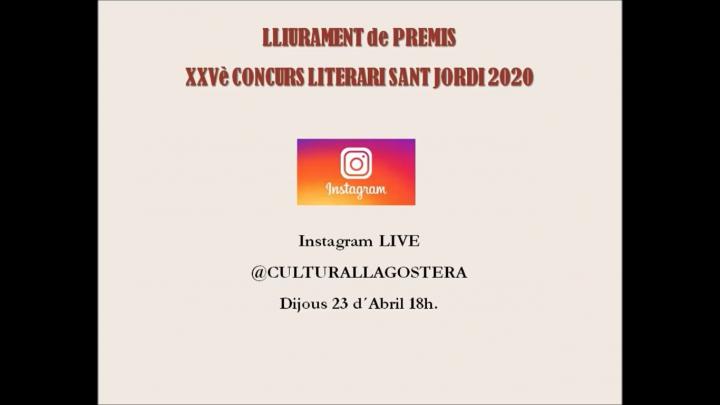 Lliurament de premis del XXVè Concurs Literari Sant Jordi 2020
