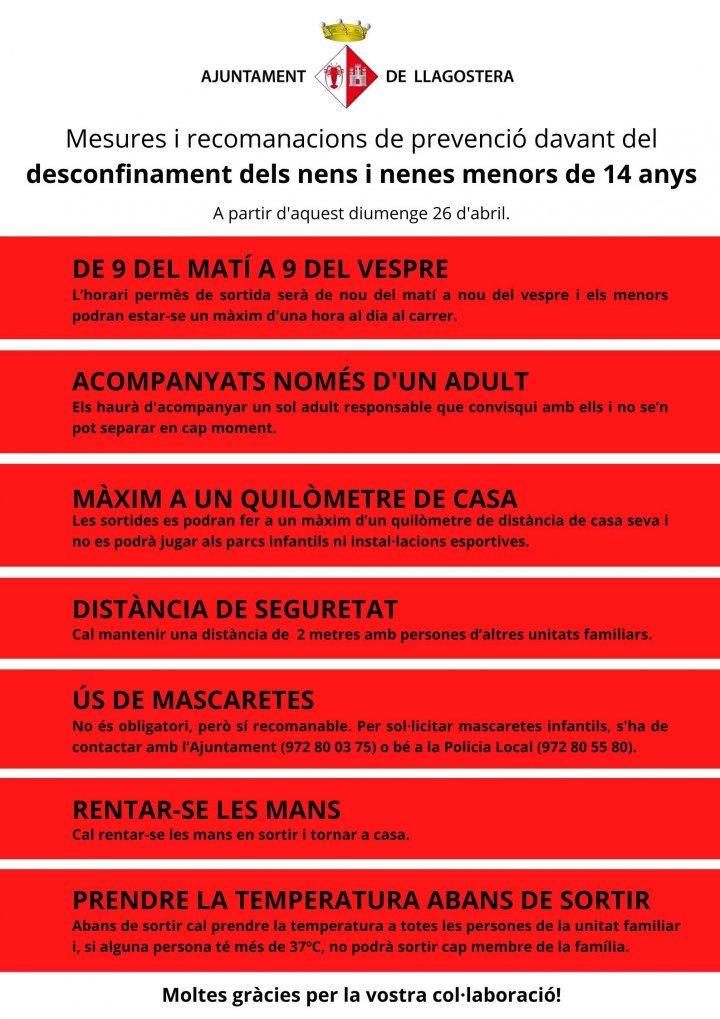 Mesures i recomanacions de prevenció davant del desconfinament dels nens i nenes