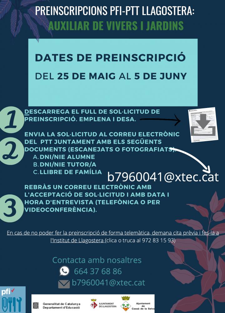 El PTT de Llagostera canvia de perfil. El curs 2020-2021 s'impartirà el perfil d'Auxiliar de vivers i jardins