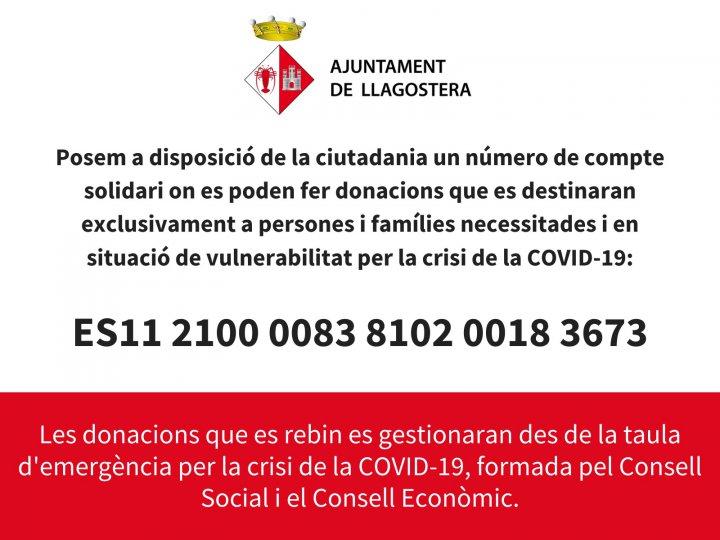L'Ajuntament habilita un número de compte solidari per als veïns i veïnes en situació de vulnerabilitat