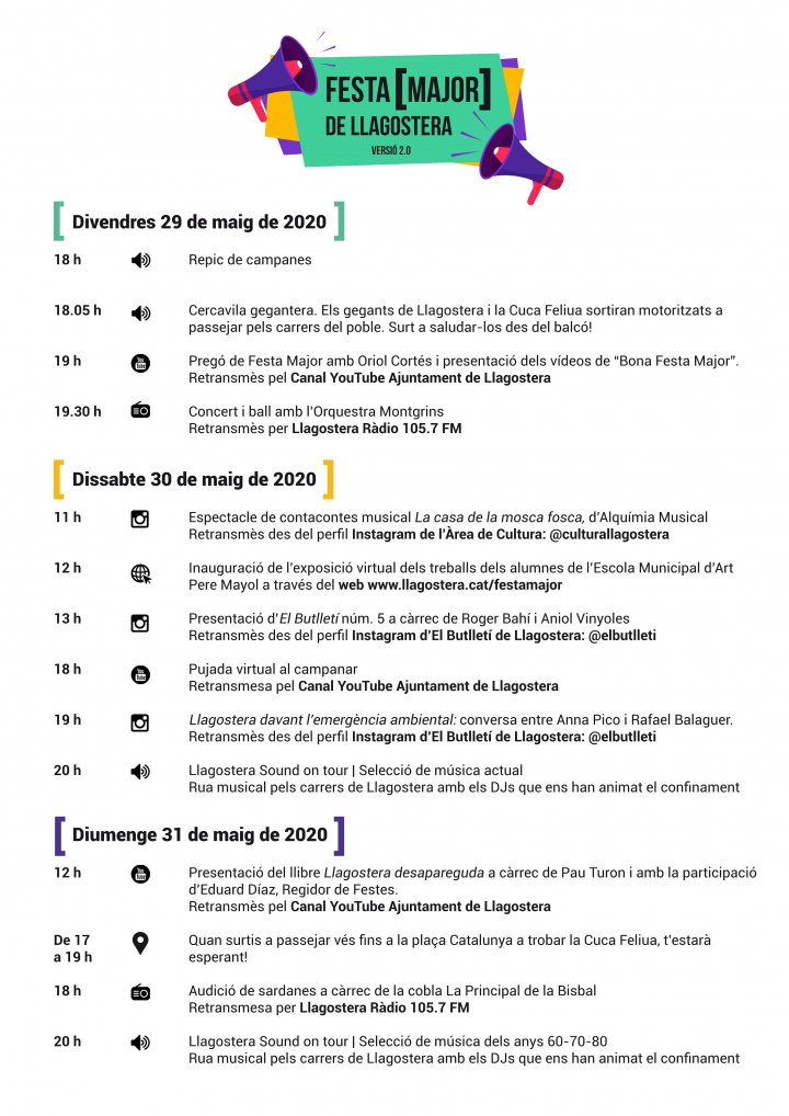 Programació de la Festa Major de Llagostera versió 2.0