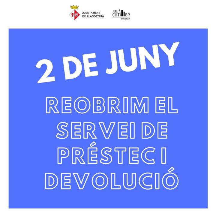 La Biblioteca Julià Cutiller reobre el servei de préstec i devolució